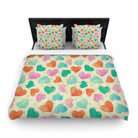"Louise Machado ""Watercolor Hearts"" Multicolor Red Woven Duvet Cover"