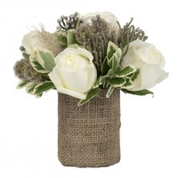 Burlap Vase With White Roses