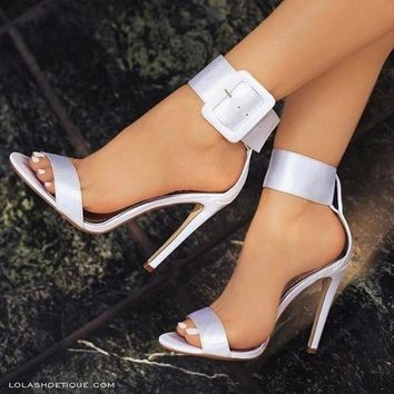 New Fashion Women Sandals Hot Buckle Ankle Strap Pump High Heels Shoes 7 Colors Plus s