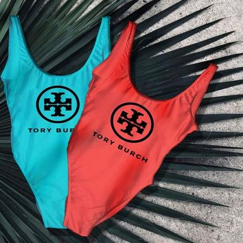 Tory burch New Fashion Letter Print Swimsuit One Piece Bikini Suit Two Color