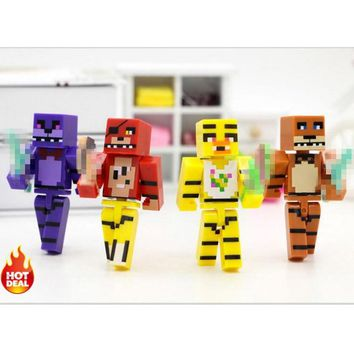 4pcs/set Minecraft Figures  At  4  Foxy Bonnie Freddy Anime Action Figure Toys For Children #E