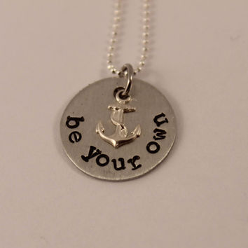 Be your own anchor - Pewter and silver necklace with anchor charm