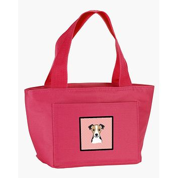 Checkerboard Pink Jack Russell Terrier Lunch Bag BB1261PK-8808