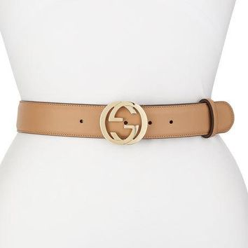 Gucci Wide Adjustable GG-Buckle Belt, Camelia