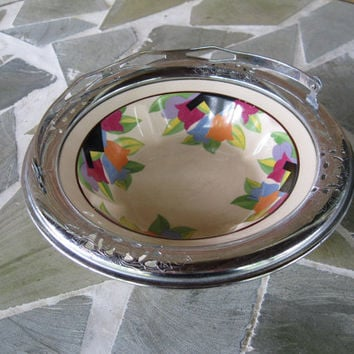 Umbertone for Farberware Leigh Pottery Serving Bowl Vintage Art Deco Tulips