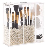 PuTwo Makeup Organizer With 2 Make Up Brush Holders and 3 Drawers All In One Case with Free  Pearl