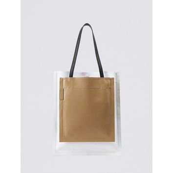 3.1 Phillip Lim Natural Slim Accordion Tote Bag - Multicolor Leather Tote Bag