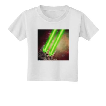 Laser Eyes Cat in Space Design Toddler T-Shirt by TooLoud