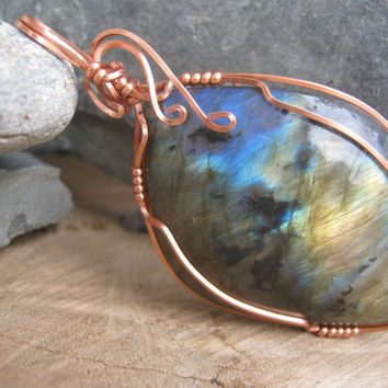 Golden and Blue Labradorite Pendant, Wire Wrapped in Copper