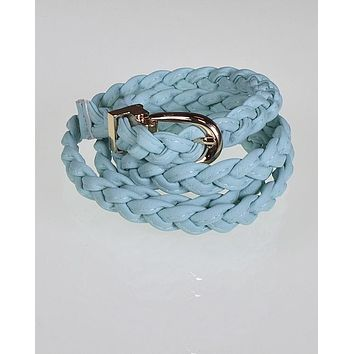 Faux Leather Braided Skinny Belt with Metallic Buckle