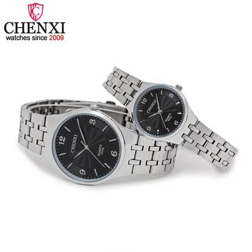 CHENXI Brand Original Luxury Famous Full Steel Couple Watches Lovers Quartz Clocks  Rose Gold Men Watch Women Wristwatch Relogio