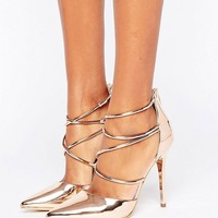 Office Spears Rose Gold Cross Strap Heeled Shoes at asos.com