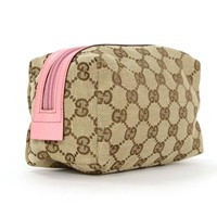 Gucci Tan Monogram Canvas Cosmetic Pouch w/ Pink Leather Trim