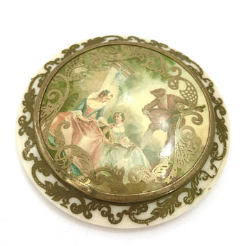 Norida Celluloid Compact, Victorian Revival Garden Scene, Thin Profile, Mirror Mesh Sifter and Signed Powder Puff,  Vintage Gift for Her