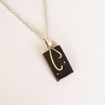Square wood pendant in Ebony and Sterling Silver, silver plated chain - Women or Men Necklace - Men jewelry - Black and silver - Geometric