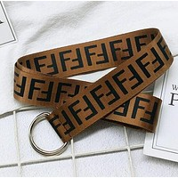 Fashionable Women Men Casual F Letter Canvas Belt Waist Belt Coffee
