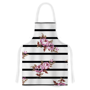 "NL Designs ""Purple Floral Stripes"" Black White Artistic Apron"