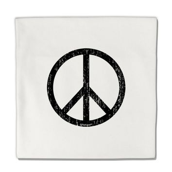 "Peace Sign Symbol - Distressed Micro Fleece 14""x14"" Pillow Sham"