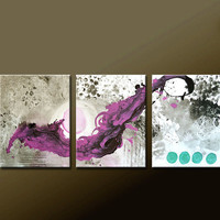 "3pc Abstract Canvas Art Painting 48"" Original Contemporary Triptych Paintings by Destiny Womack - dWo - The Balance"