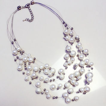 Floating Pearl Multi Strand Pearls Necklace