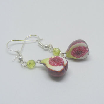 Food Jewelry, Fig Earrings, Fig Drop, Fig Charm, Miniature Food Jewellery, Fig Jewelry, Mini Food, Polymer Clay Food, Fruit Charm, Vegan