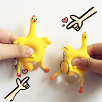 Creative Rubber Egg Laying Plucked Bald Chicken Squeeze Ball Reliever Stress Tricky Toys