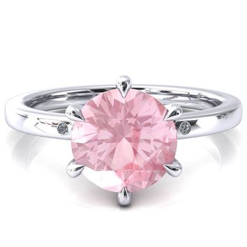 Maise Round Pink Sapphire 6 Prong Diamond Accent Engagement Ring