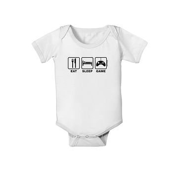 Eat Sleep Game Design Baby Romper Bodysuit by TooLoud
