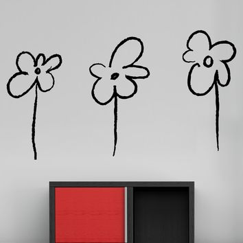 Three Flowers Vinyl Wall Decal Sticker  #OS_MB948