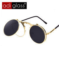 Adiglass Brand Steampunk Sunglasses Round Steam Punk Metal OCULOS de sol Women COATING SUNGLASSES Men Retro CIRCLE SUN GLASSES