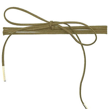 Long Faux Suede Tie Wrap Choker Matchstick Necklace - Olive
