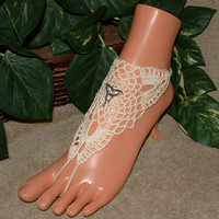 Crochet Barefoot Sandals, Infinity, Trinity, Celtic, Knot, Hand, Foot, Chain, Bracelet, Ring, Jewelry, Ivory, White, Charm, New, Shoes