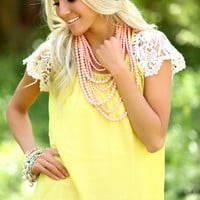 Every Day Detail Lace Top Mustard