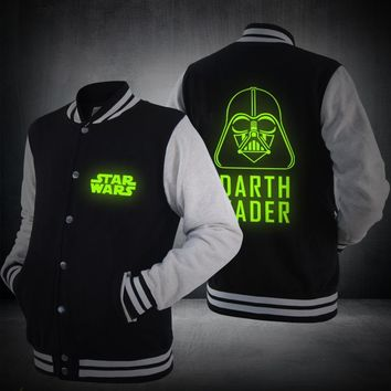 Star Wars Luminous Baseball Darth Vader Jacket New Hoodie Jedi knight Spring Zipper Mens Sweatshirts Hot Sale