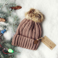 Snow Dust Cozy Beanie in Taupe