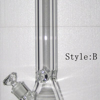 "2015 Popular 9mm Thickness Glass Water Bongs beaker base Waterpipe Clear Glass Water Pipes 18""Height cheap bongs"