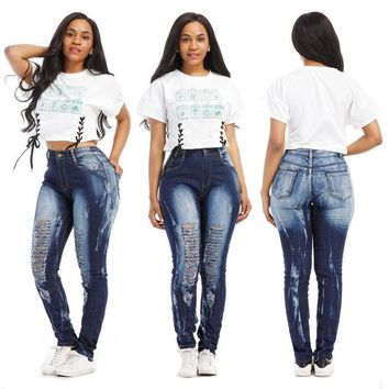High Waist Denim Jeans Skinny Stretch Dark Blue