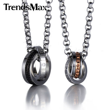 Trendsmax Valentine Gift Couple CZ Circles Engraved Grid Letter Eternal Love Stainless Steel Pendant /w Necklace(piece)