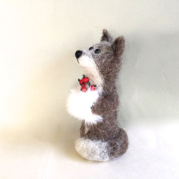 Christmas Fox ornament silver Fox with muff hand warmer needle felted fox felting fox needle felt wool cute red berries cute grey brown cub