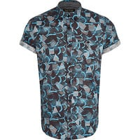River Island MensBlue abstract print short sleeve shirt