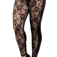 Black Lace Front Leggings Design 422