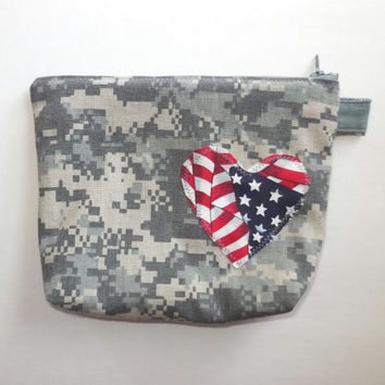 ACU Zipper Bag - US Army Digital Camouflage - Patriotic American Flag Heart - Makeup - Medium Cotton Pouch - Large Wallet