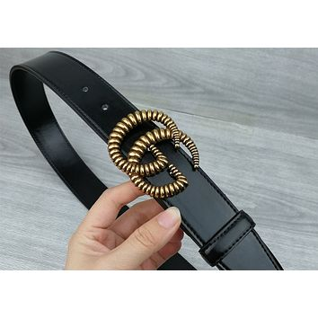 GUCCI tide brand men and women models simple fashion smooth buckle belt Gold