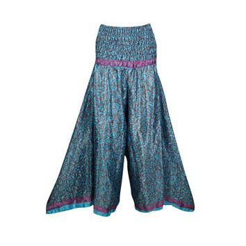 Mogul Women High Waist Wide Leg Long Skirt Pants Recycled Silk Sari Flared Flirty Maxi Split Skirt S/M - Walmart.com