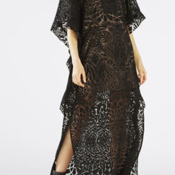 Dameka Ruffled Long Kaftan Dress - Black