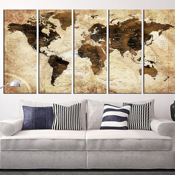 Sephia world map canvas art, push pin travel map wall art, world map with countries, world map home decor, world map art print ht120