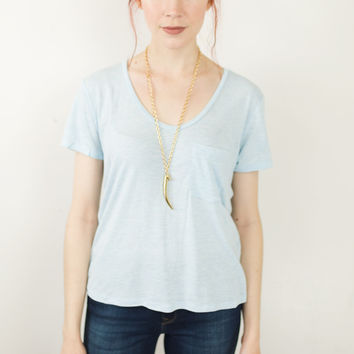 Lulu Chambray Knit Top