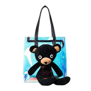 2017 cute bear shoulder bag  laser transparent tote bags  summer adorable satchel cartoon bear hologram