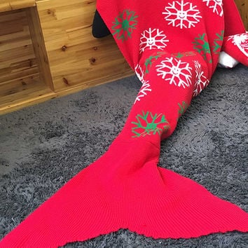 Handcraft Crochet Christmas Snowflakes Knitted Sleeping Bag Mermaid Tail Blanket