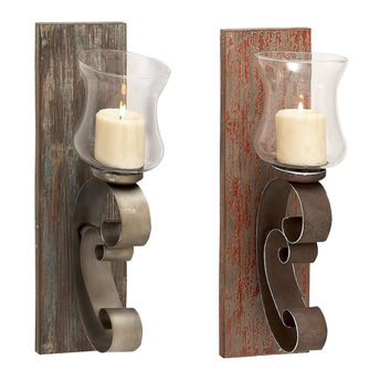 Artistic And Alluring Wood Metal Glass Candle Holder 2 Assorted
